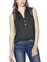 G by Guess Black Adelia Embellished Chiffon Top