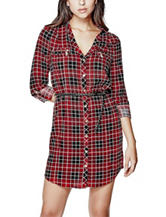 G by Guess Multicolor Plaid Print Bernice Dress