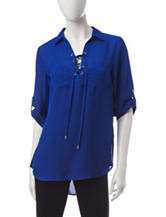 My Michelle Cobalt Lace Up Top
