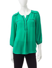 My Michelle Kelly Green Popover Top