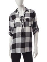 My Michelle Gingham Plaid Print Lace Up Top