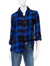 Self Esteem Black & Blue Plaid Split Back Top