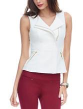 XOXO White Zipper Vest