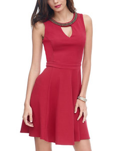 XOXO Cranberry Fit & Flare Dresses