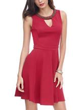 XOXO Bead Embellished Fit & Flare Dress