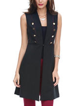 XOXO Black Button Front Long Vest