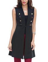 XOXO Black Button Front Long Vest