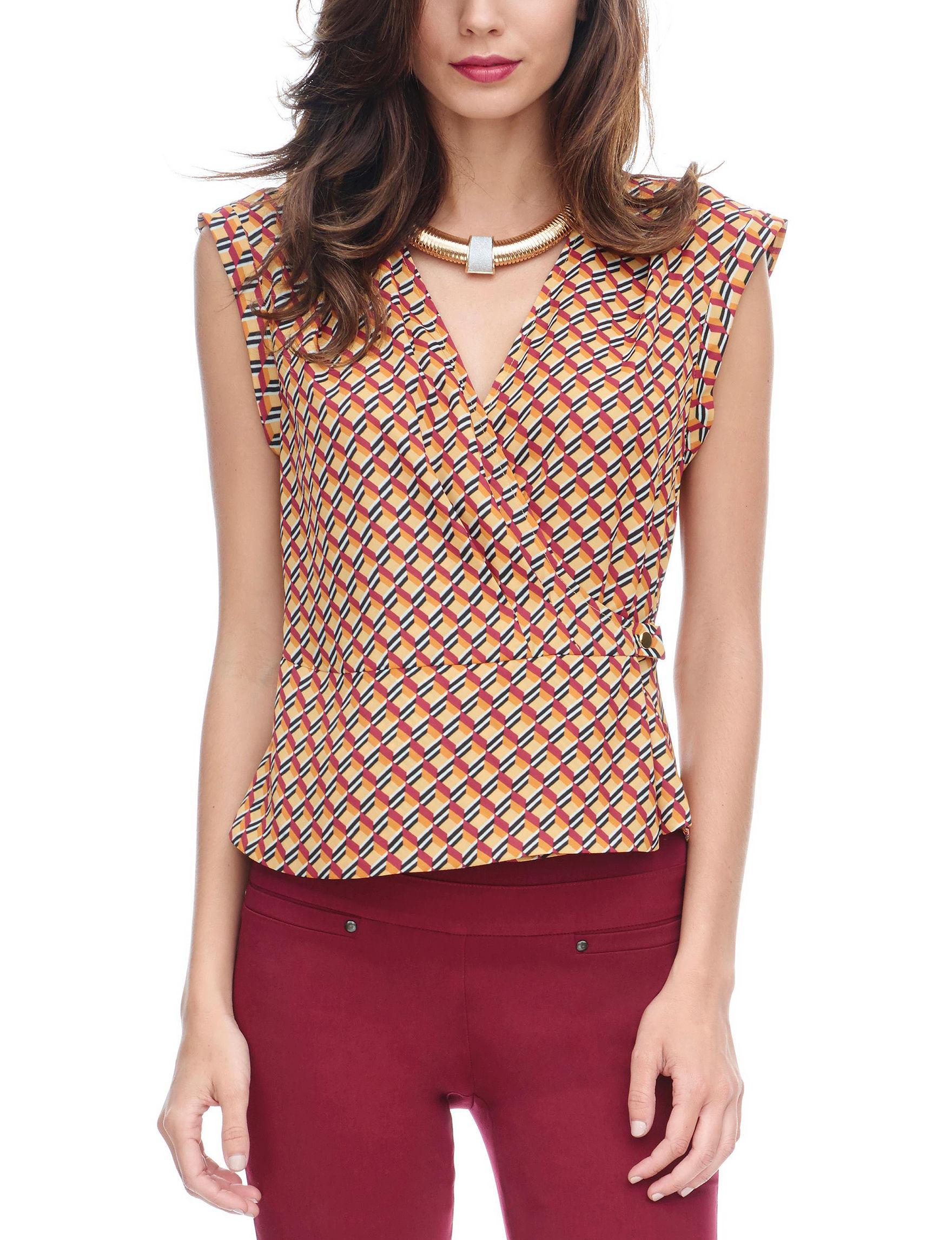 XOXO Orange Multi Shirts & Blouses