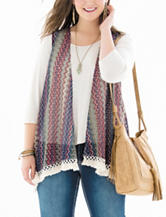 Self Esteem Juniors-plus Multicolor Chevron Knit Vest & Top