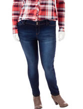 YMI Plus-size Light Wash Cropped Skinny Jeans