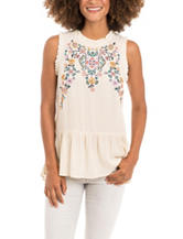 Eyeshadow Ivory Embroidered Top