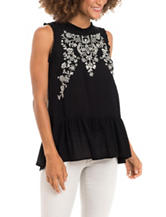 Eyeshadow Black & White Floral Embroidered Top