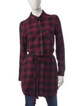 Kensie Checkered Plaid Print Shirt Dress