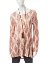 Signature Studio Diamond Print Hacci Knit Top
