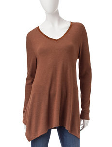 Signature Studio Brown Hacci Knit Top