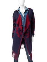 Signature Studio Navy & Red Aztec Knit Cardigan