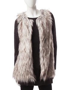 Signature Studio Tonal Grey Faux-Fur Vest