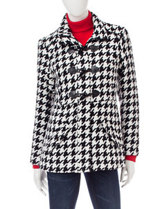 Rampage Black & White Houndstooth Peacoat