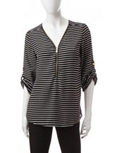 Wishful Park Black & White Striped Chiffon Top