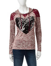 Miss Chevious Sequin Heart Hacci Knit Top
