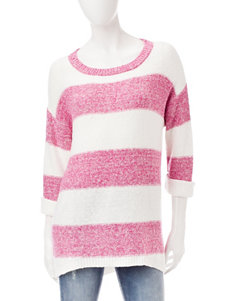 Signature Studio Pink & White Stripe Print Top