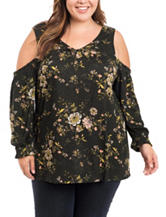 Eyeshadow Juniors-plus Floral Print Cold Shoulder Top