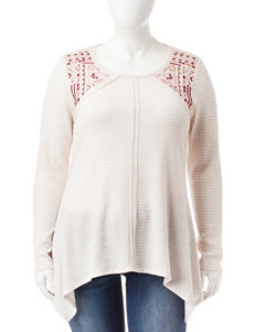 Eyeshadow Plus-size White Waffle Knit Embroidered Top