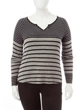 Cloud Chaser Juniors-plus Variegated Striped Top