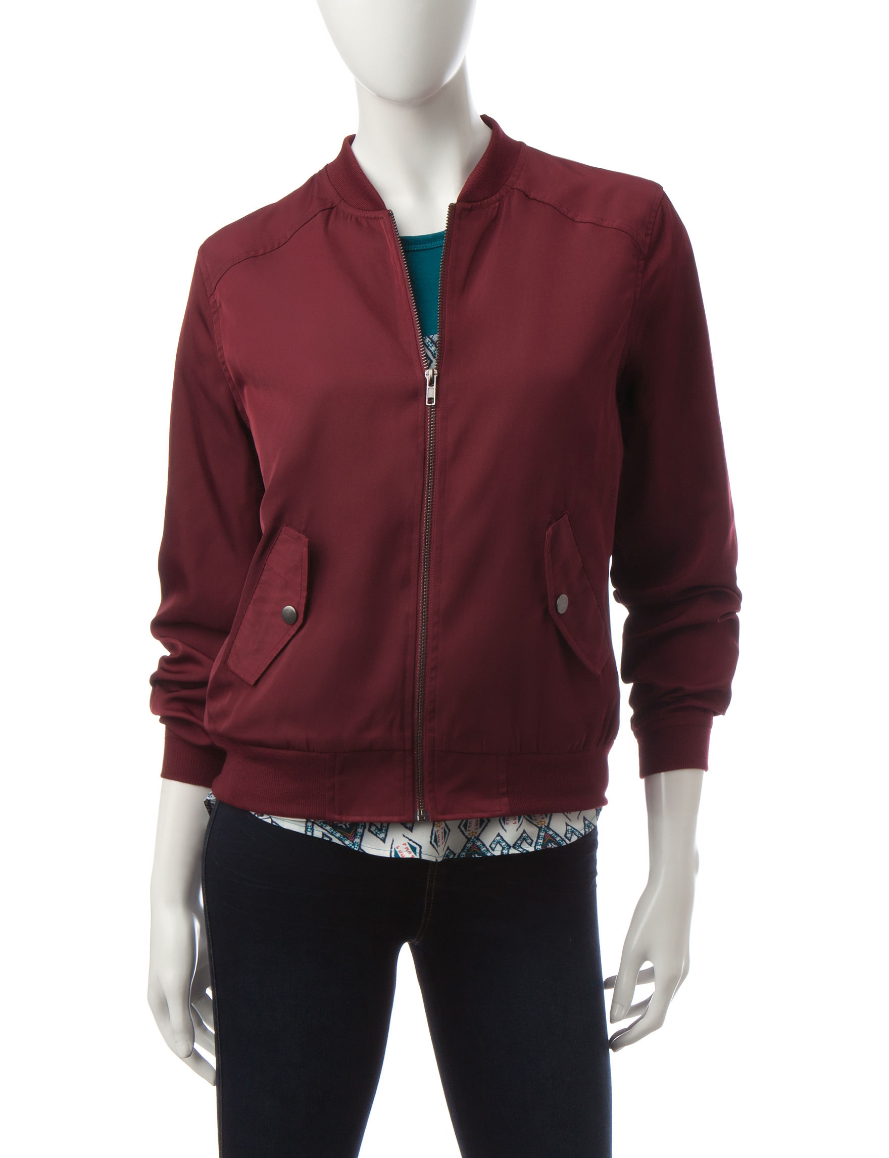 Justify Burgundy Lightweight Jackets & Blazers