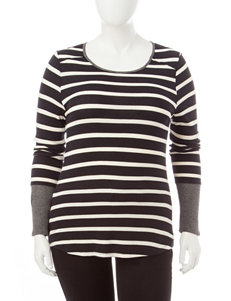 Cloud Chaser Juniors-plus Striped Knit Top