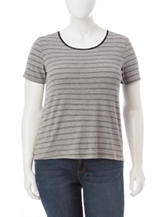Cloud Chaser Junior-plus Striped Back Lace Top