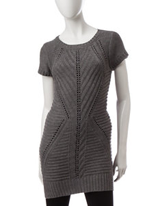 Made For Me To Look Amazing Grey Chevron Knit Tunic