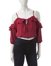 Liberty Love Burgundy Cold Shoulder Ruffle Top