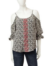 Jolt Floral Embroidered Cold Shoulder Top