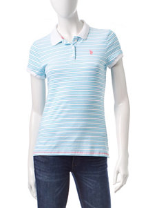 U.S. Polo Assn. Striped Print Polo Top