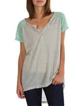 Union Bay Grey & Mint Color Block Top