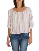 Union Bay Pink & White Babydoll Top