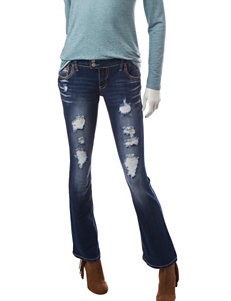 Amethyst Dark Wash Destructed Bootcut Jeans