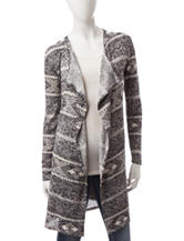 It's Our Time Grey & White Aztec Knit Cardigan