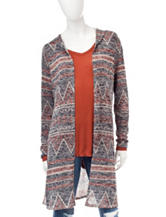 It's Our Time Multicolor Chevron Knit Hooded Cardigan