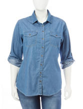 Justify Junior-plus Chambray Lace Top