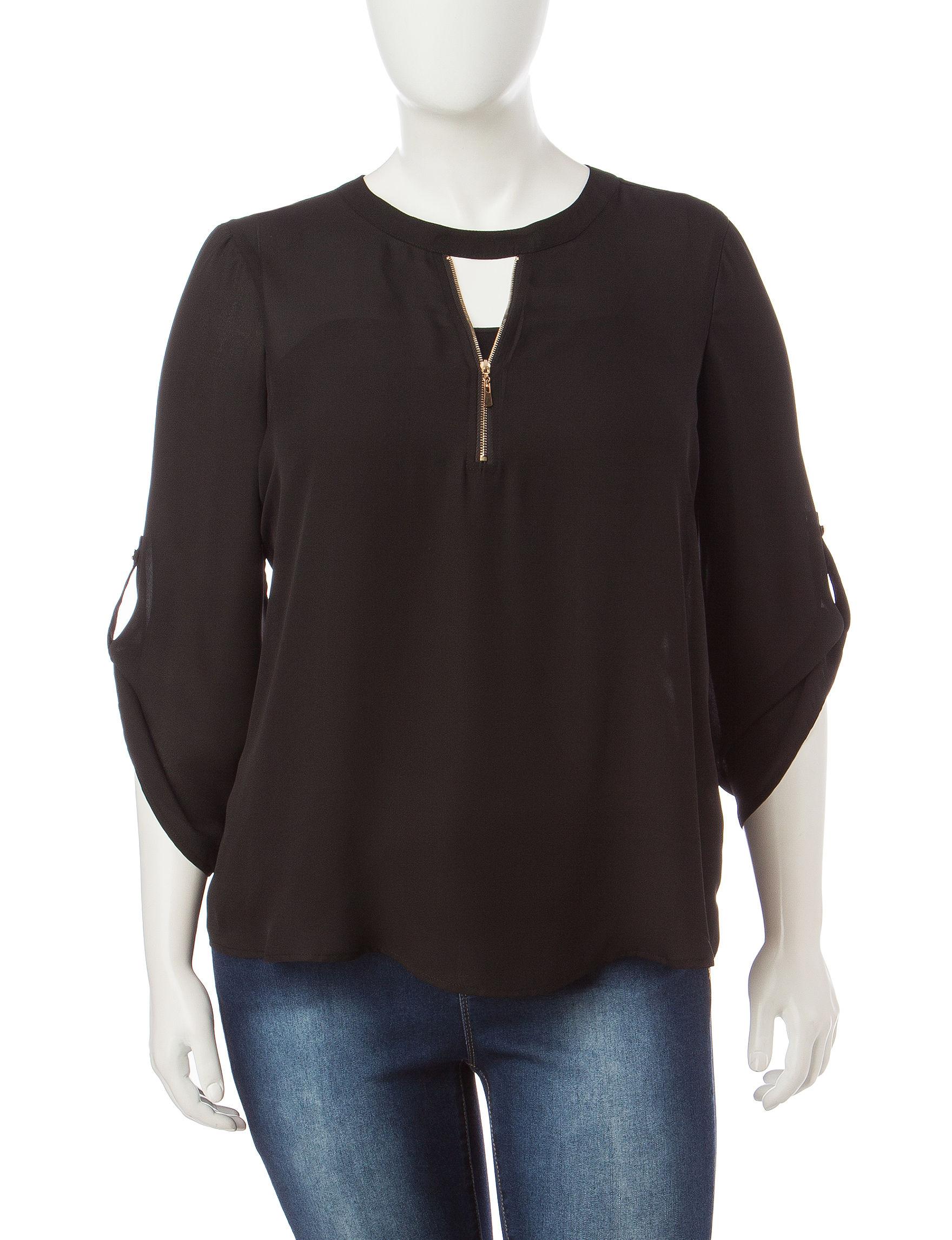 Justify Black Multi Shirts & Blouses