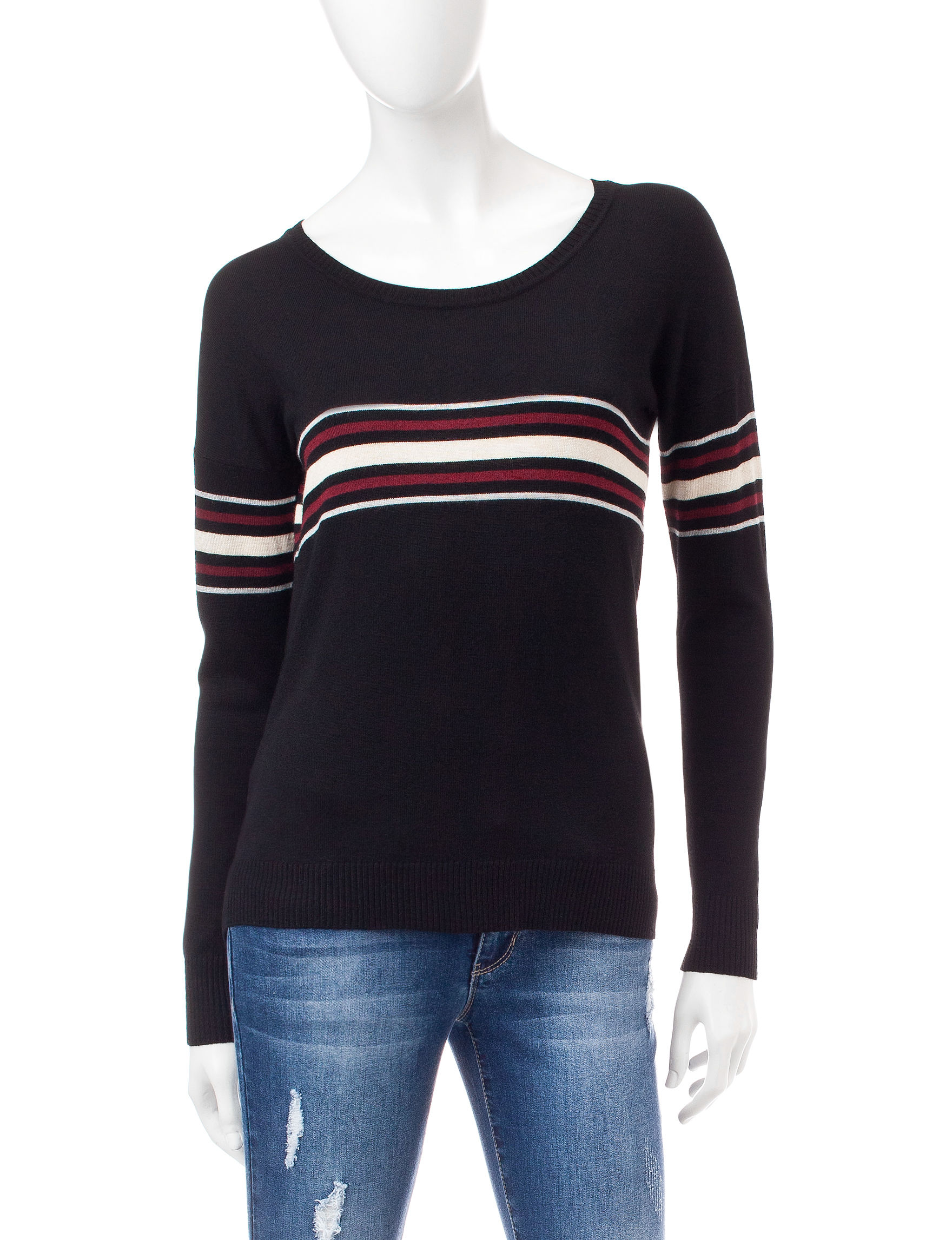 Pink Rose Black Pull-overs Sweaters