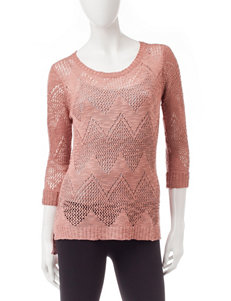 Pink Rose Pink Pointelle Knit Sweater