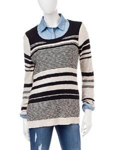 Pink Rose Black & Cream Striped Sweater