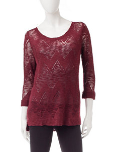 Pink Rose Dark Red Pull-overs Sweaters