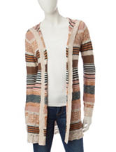 Pink Rose Multicolor Striped Print Cardigan