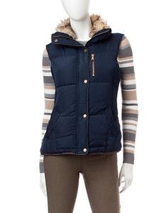 YMI Navy Faux Fur Collar Puffer Vest