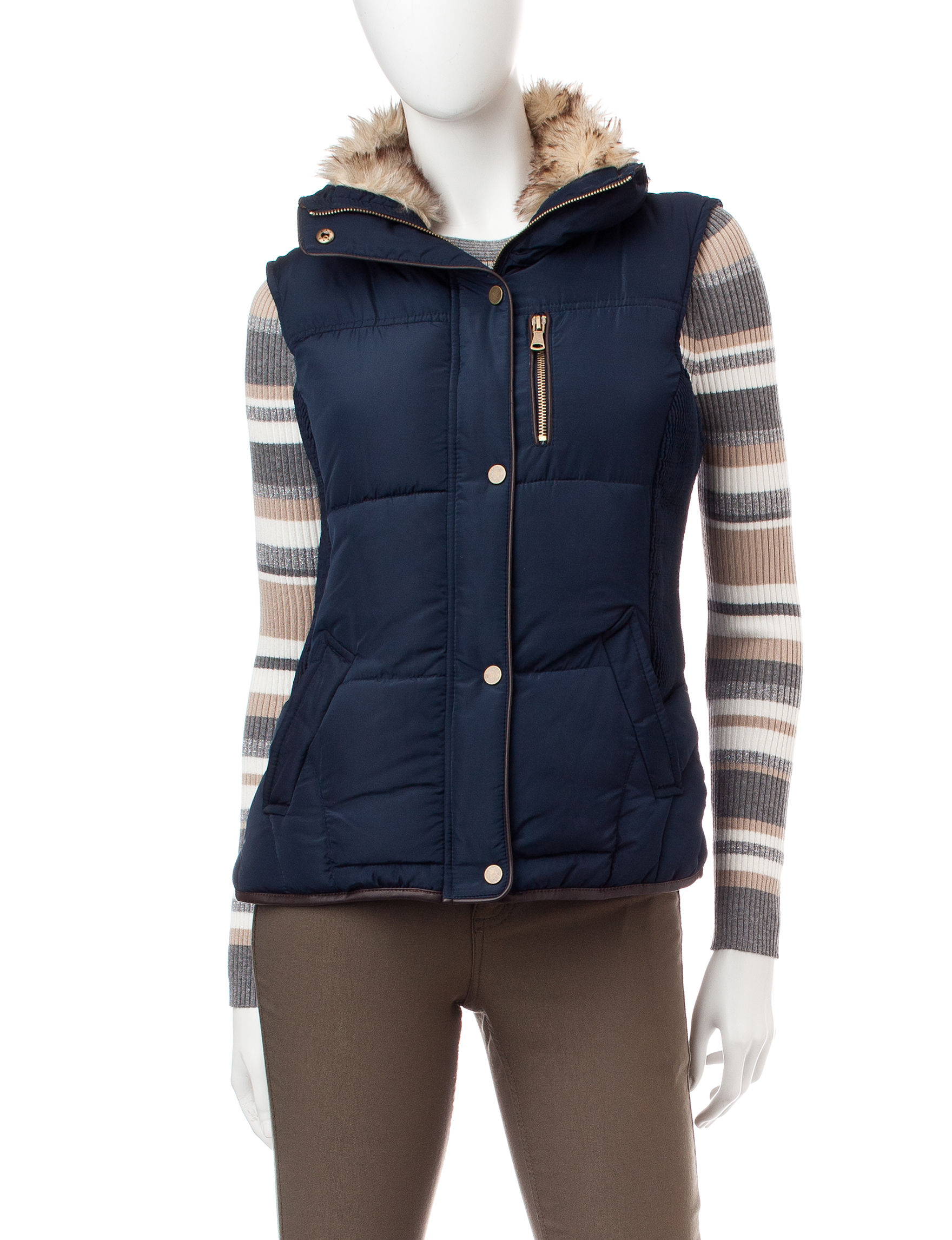 YMI Navy Puffer & Quilted Jackets