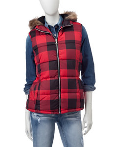 YMI Red & Black Buffalo Check Puffer Vest